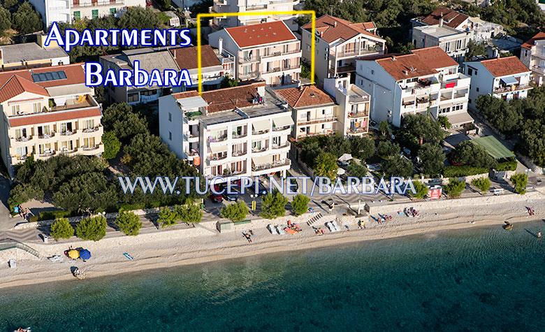 Apartments Barbara, Tučepi - aerial position of house