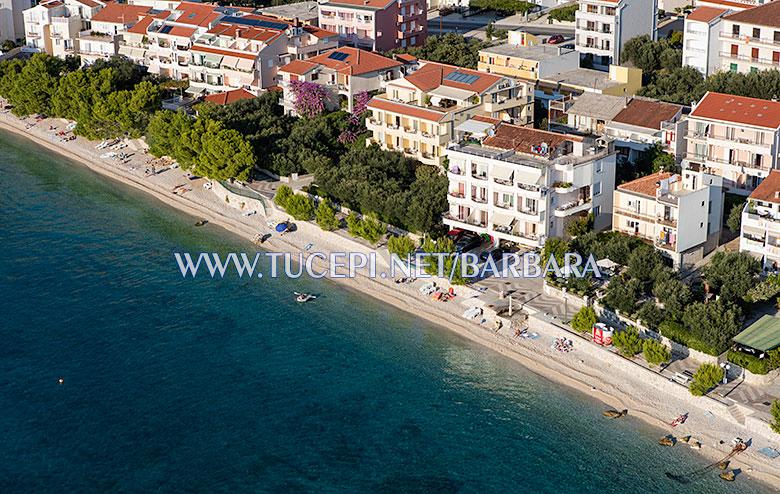 Beach Kamena, Tučepi - summer time, aerial view