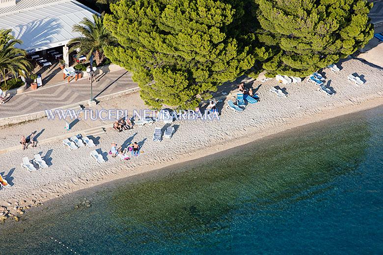 Beach Slatina, Tučepi - summer time, aerial view