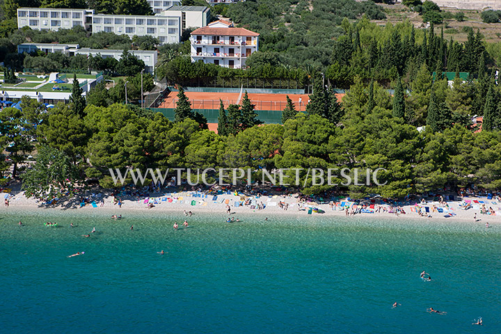 Aerial view of beach in Tučepi
