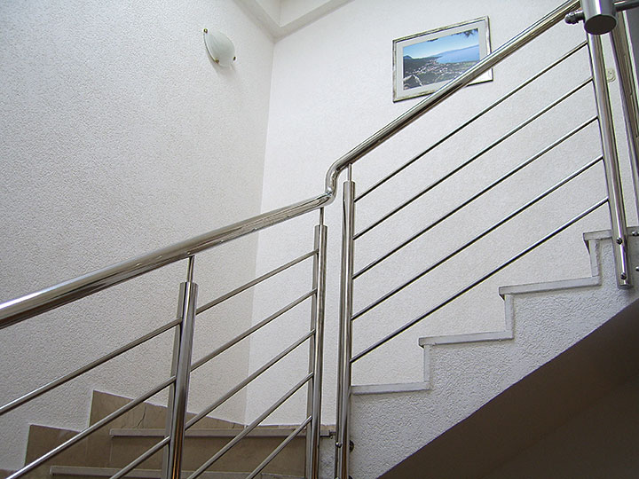 stairs with inox fence