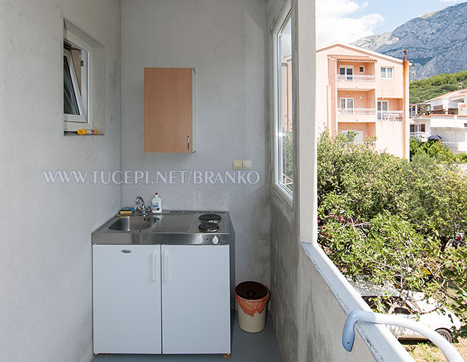 mini kitchen on the balcony, mountain Biokovo side