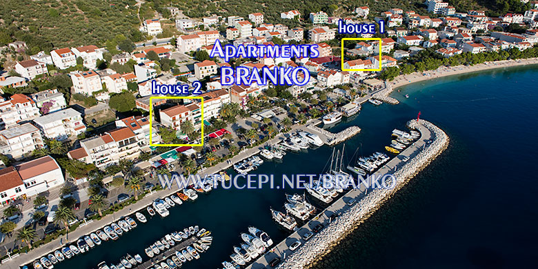 position of apartments Branko - close to the beach