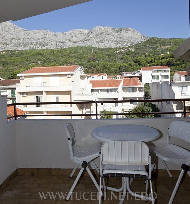 balcony with view on mountain Biokovo