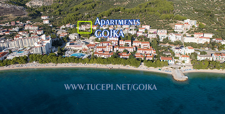Apartments Gojka, Tučepi - aerial view and position