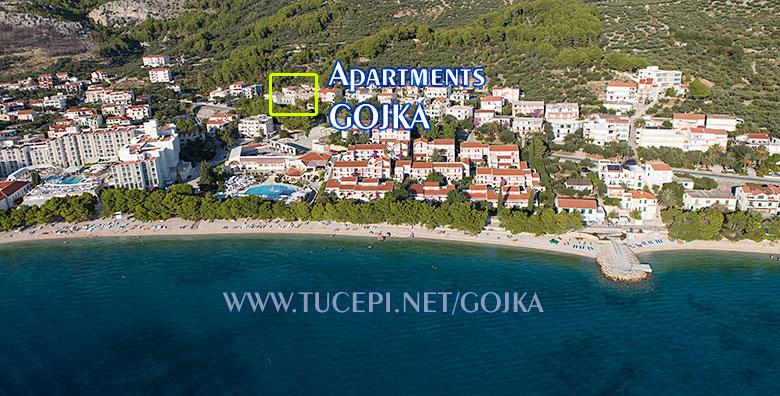 Apartments Gojka, Tučepi - aerial view and position