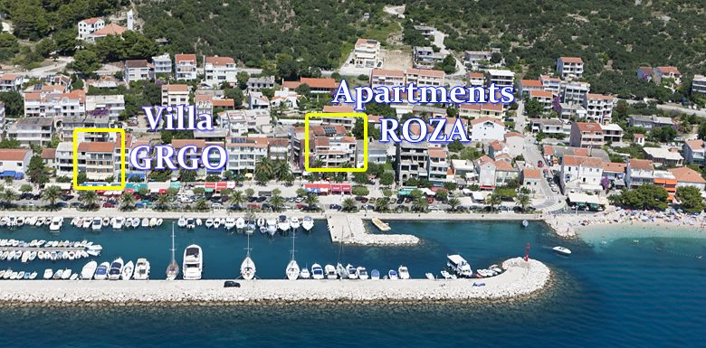 Position of apartments Villa Grgo, Roza in Tucepi