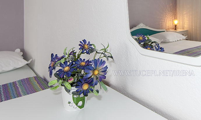 flowers in the vase on dressing table