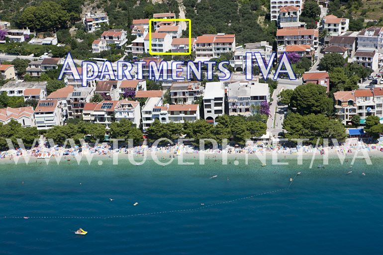 position of apartments Iva in Tučepi, aerial view