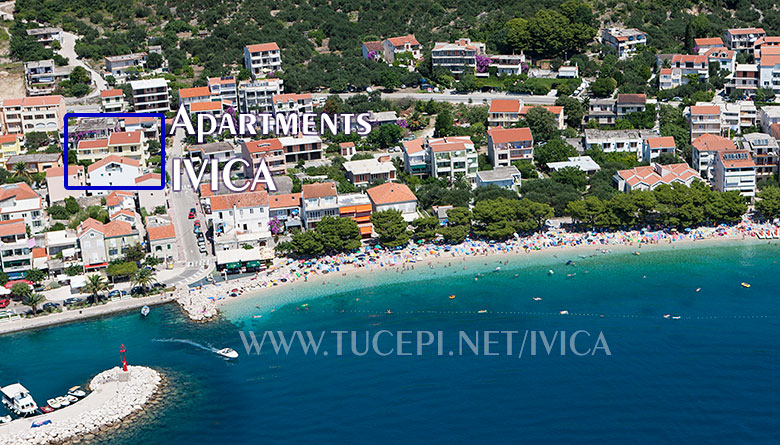 Tučepi - aerial view on apartments IVICA