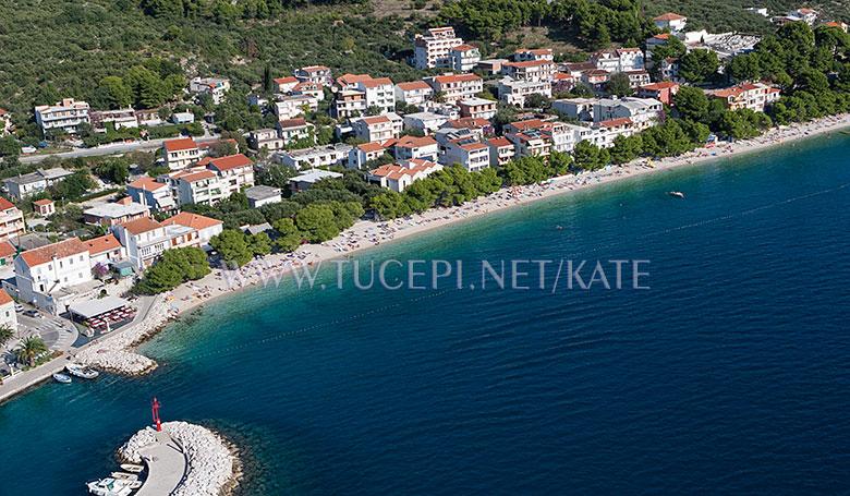 Beach Kraj in Tučepi, aerial panorama