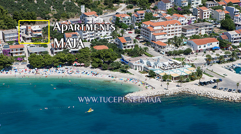 aerial position of apartments Maja in Tučepi
