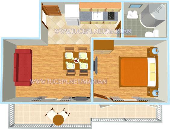 Apartments Marijan, Tučepi - plan of apartment