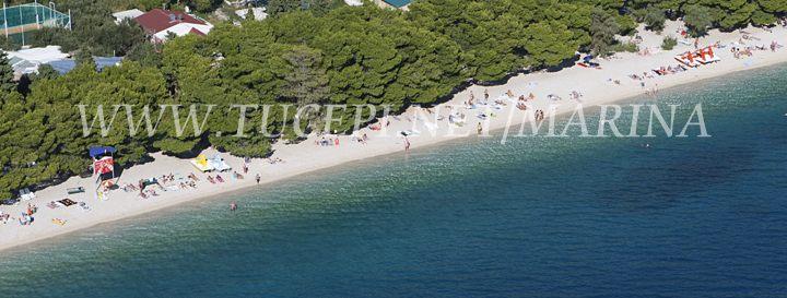 Beach Slatina in Tucepi from air