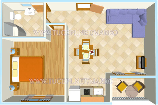 apartments Marko, Tučepi - apartment's plan