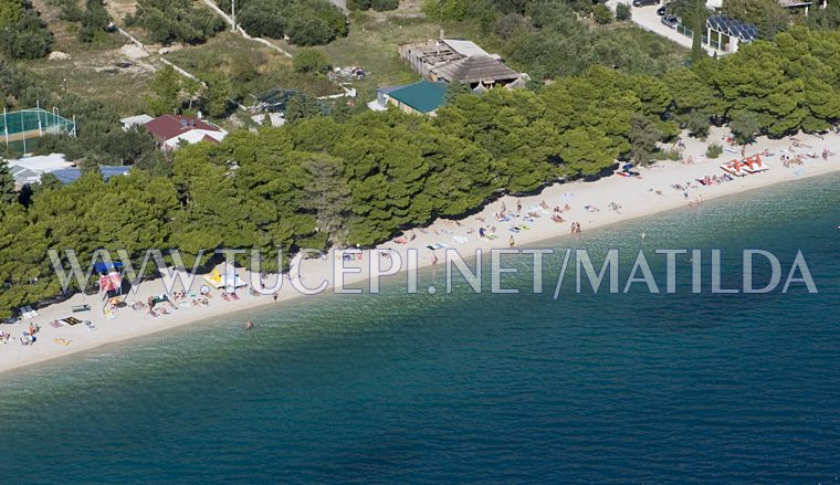 beach in Tučepi, aerial view