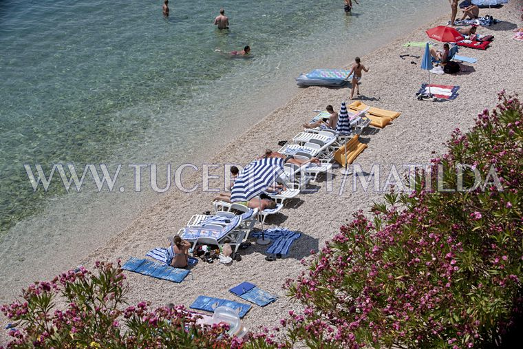 beach at hotel Jadran in Tučepi, aerial view