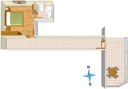 8: R2, plan, Apartments Mendeš, Tučepi
