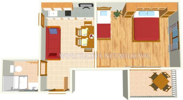 apartment's plan - Milković Brela