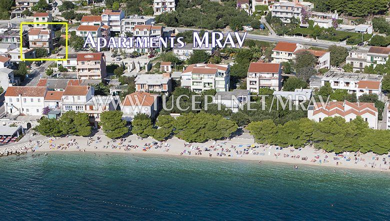 Position of apartments Mrav in Tučepi