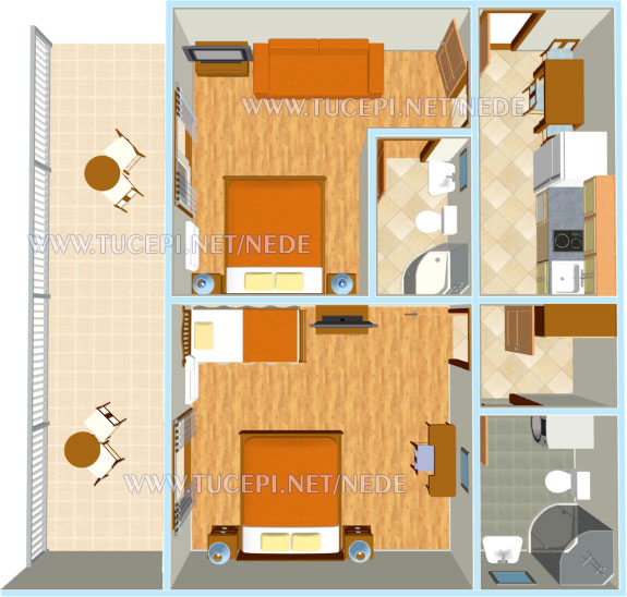 Apartments Nede, Ante Grubišić, Tučepi - apartments plan