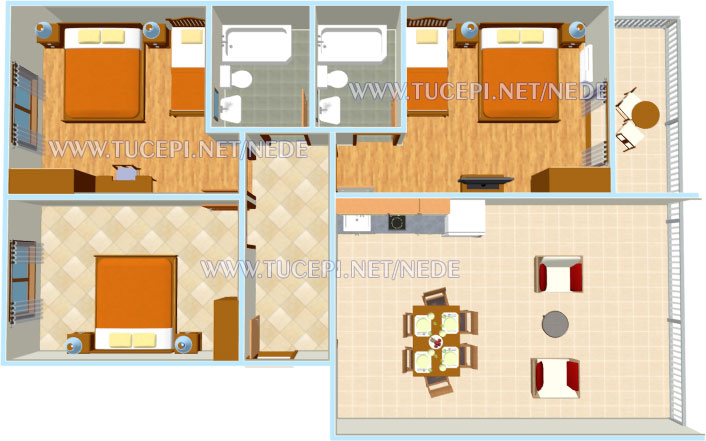 apartments Nede, Ante Grubišić, Tučepi - apartment plan