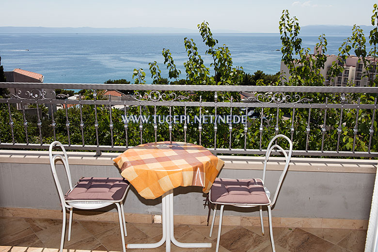 apartments Nede, Tučepi, sea view from bedroom's balcony