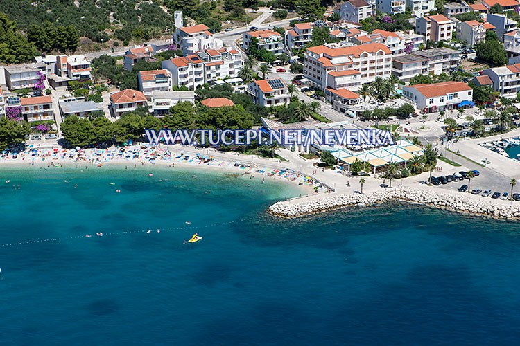 Tučepi - aerial panorama of central beach