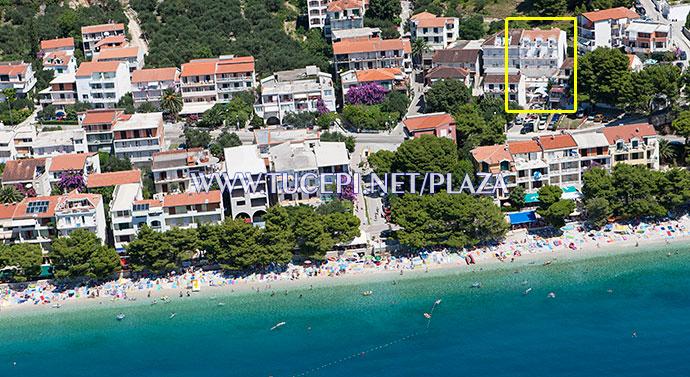 position of apartments Bili Dvori in Tučepi