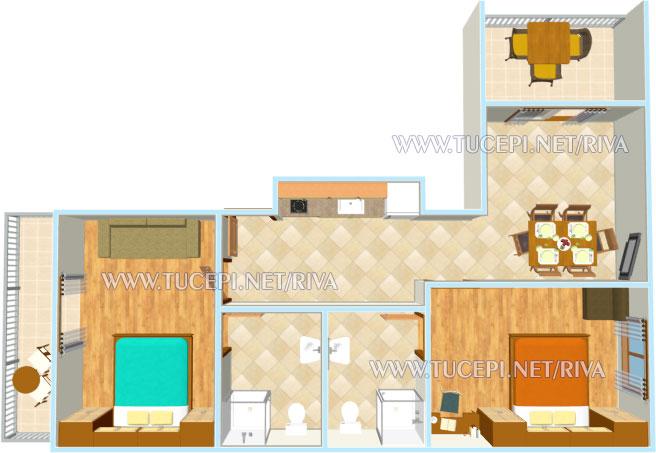 Tučepi, apartments Marija - apartment's plan