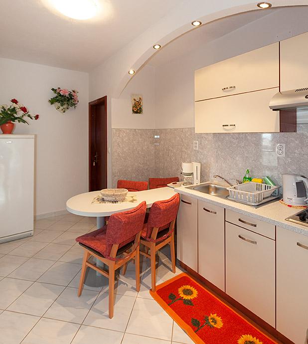 Kvoll ausgestattete Küche, Esszimmer