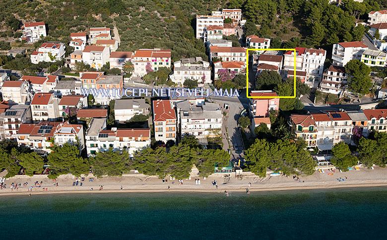 house no. 2 - aerial view, Maja Ševelj apartments, Tučepi