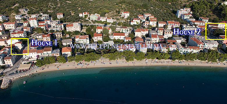houses, aerial position and view - apartments Maja Ševelj Tučepi
