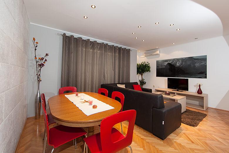 interior panorama, dining table, big sofa, multimedia set