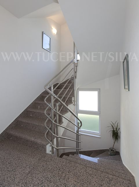 stairs, stone and stainless steel