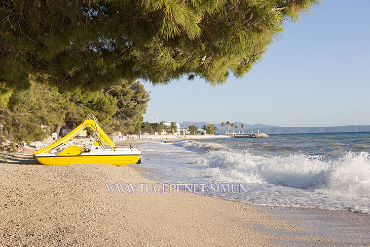 Tučepi beach at big sea waves day