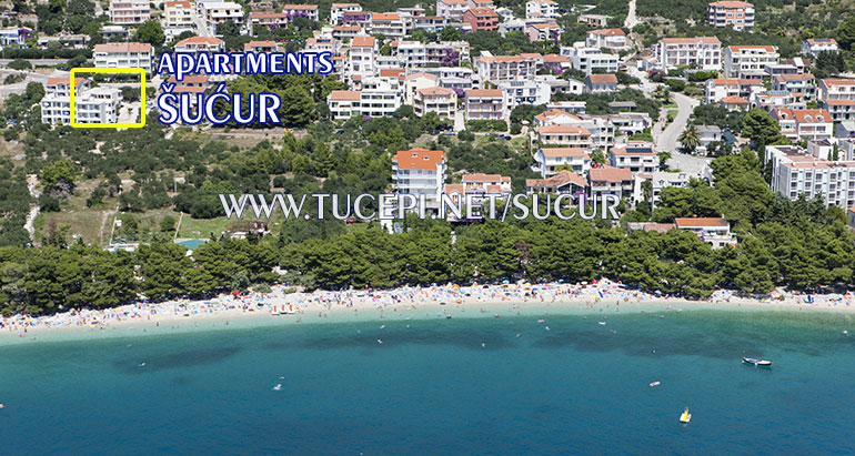 aerial position of apartments Šućur in Tučepi