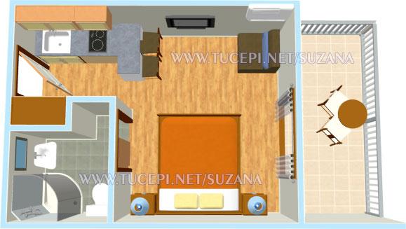 apartments Suzana, Tučepi - apartemnt's plan