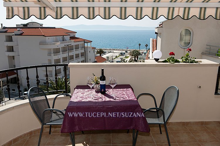 apartments Suzana, Tučepi - terrace with sea view