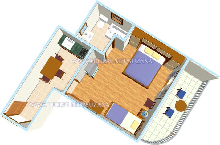 apartments Suzana, Tučepi - apartment's plan