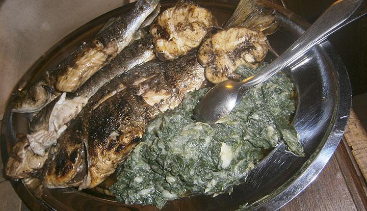 ispečena riba i blitva