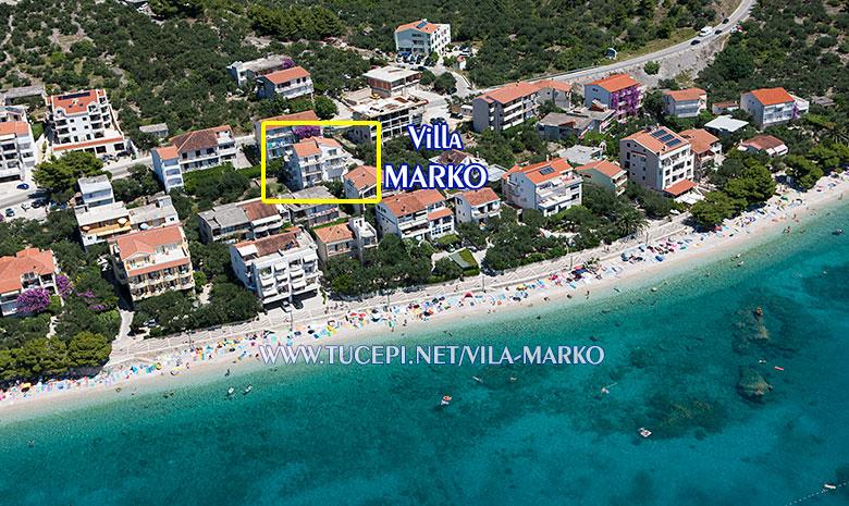 Apartments Vila Marko, Tučepi - aerial position of house